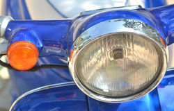 Motorcycle headlight, silver chrome Stock Photo