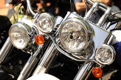 Motorcycle headlights royalty free stock photography