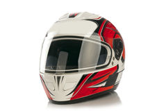 Motorcycle helmet. Colour motorcycle helmet on white background with reflection royalty free stock images
