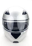 Motorcycle helmet. High quality light gray motorcycle helmet over white background, studio isolated Stock Photography