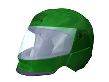 Motorcycle helmet. Computer image, green safety helmet 3D, isolated white background Stock Images