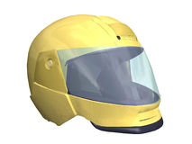 Motorcycle helmet. Computer image, motorcycle helmet 3D, isolated white background Stock Image