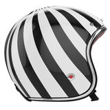 Motorcycle helmet black white left view. Motorcycle helmet black white striped. Helmet classic style. Helmet left view vector illustration