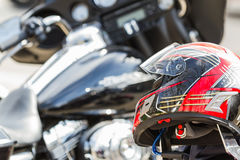 Motorcycle helmet. Closeup of a motorcycle helmet with more bikes in the background Royalty Free Stock Photos