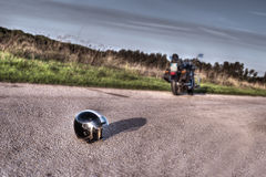 Motorcycle and helmet Stock Image