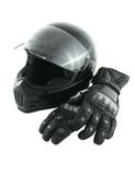 Motorcycle helmet and gloves. Black glossy motorcycle helmet and leather gloves with carbon fiber protection Stock Photography