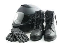 Motorcycle helmet, gloves and boots. Royalty Free Stock Image