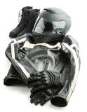 Motorcycle helmet, gloves, jacket and boots. Royalty Free Stock Photography