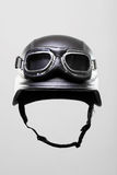 Motorcycle helmet with goggles Royalty Free Stock Photography