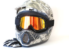 Motorcycle Helmet Goggles Gloves Stock Photography