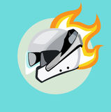 Motorcycle helmet with hot rod flames flat design  Royalty Free Stock Photography