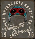 Motorcycle helmet label t-shirt design Stock Image