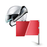 Motorcycle helmet with red flag  on white Stock Photography