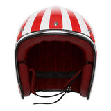 Motorcycle helmet red white front view Stock Photo