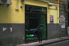 Motorcycle helmet shop, Naples, Italy. Stock Photo