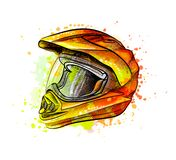 Motorcycle helmet from a splash of watercolor stock illustration