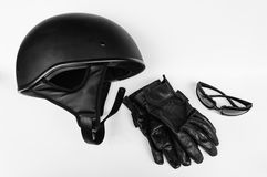Motorcycle Helmet, Sunglasses and Leather Gloves Royalty Free Stock Photos