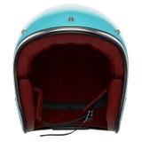 Motorcycle helmet turquoise front Stock Photo