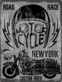 Motorcycle Helmet Typography New York Sports Club Royalty Free Stock Images