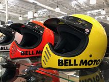 Motorcycle Helmets. On display for sale at a Motorcycle store located in Gilbert Arizona Royalty Free Stock Photography