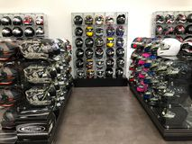 Motorcycle Helmets. On display for sale at a Motorcycle store located in Gilbert Arizona Royalty Free Stock Image