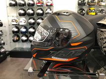 Motorcycle Helmets. On display for sale at a Motorcycle store located in Gilbert Arizona Stock Image