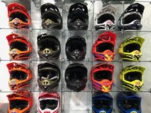Motorcycle Helmets. On display for sale at a Motorcycle store located in Gilbert Arizona Stock Photos