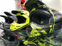Motorcycle Helmets. On display for sale at a Motorcycle store located in Gilbert Arizona Royalty Free Stock Photos