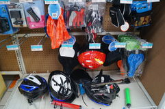 Motorcycle helmets and pads Royalty Free Stock Photo
