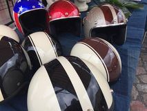 Motorcycle helmets. Several old fashioned motorcycle helmets Royalty Free Stock Image