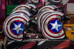Motorcycle helmets in the style of `Captain America`. Stock Image