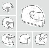 Motorcycle helmets vector set Stock Photo