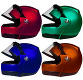Motorcycle helmets on a white background. Collage Stock Image