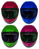 Motorcycle helmets on a white background. Collage Stock Photos