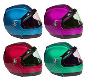 Motorcycle helmets on a white background in different colors. Co Stock Photo