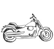 Motorcycle icon in doodle sketch lines. Sport, speed, race. Cartoon Royalty Free Stock Photos