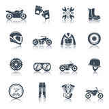 Motorcycle Icons Black Set Royalty Free Stock Images