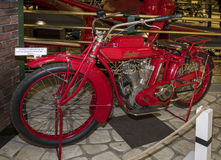 Motorcycle Indian Big Twin, model G,1915. MOSCOW, RUSSIA- DECEMBER 15- Motorcycle Indian Big Twin, model G,1915 at the Museum of technique V.Zadorozhnyj on Stock Photography