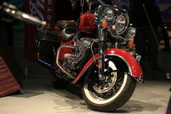 Motorcycle Indian Chief Classic 2015 red at the exhibition close-up Stock Images