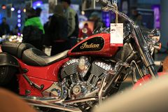 Motorcycle Indian Chief Classic 2015 red. Look on the right side close up. Time of the International motorcycle industry salon IMIS2018. Lenexpo. Saint stock images