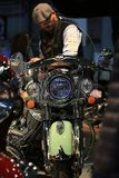 Motorcycle Indian Chief Vintage 2017 willow green / ivory cream. Front view close-up Stock Photo