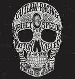 Motorcycle inspired typography skull vector illustration. Stock Photos