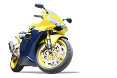 Motorcycle isolated. New motorcycle isolated on white Stock Photography