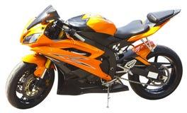 Motorcycle isolated. On white closeup stock image