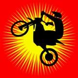 Motorcycle jump Logo. Motocross enduro free-ride sign. Motorcycle Logo in blue round, Vector Illustration Royalty Free Stock Photo