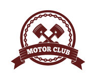 Motorcycle label badge vector. Black icon and moto club illustration Royalty Free Stock Image
