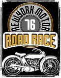 Motorcycle label t-shirt design with illustration of custom chop. Per art Stock Photos