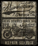 Motorcycle label t-shirt design with illustration of custom chop. Per fashion design Stock Photography