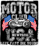 Motorcycle label t-shirt design with illustration of custom chop. Per fashion style Royalty Free Stock Image