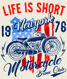 Motorcycle label t-shirt design with illustration of custom chop Stock Photos